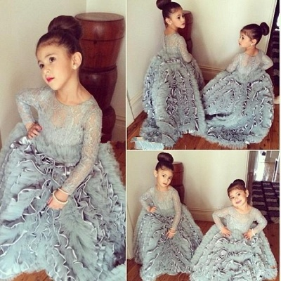 Grey Cloud Flower Girl's Dresses UK Lace Long Sleeves Tiers Long Stunning Girl's Pageant Dresses_3