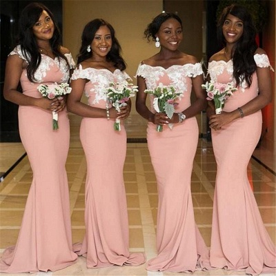 Off The Shoulder Sexy Trumpt Pink Bridesmaid Dresses UK Cheap | Lace Appliques Spring Maid of Honor Dresses_3