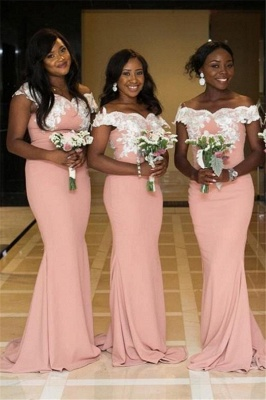 Off The Shoulder Sexy Trumpt Pink Bridesmaid Dresses UK Cheap | Lace Appliques Spring Maid of Honor Dresses_1