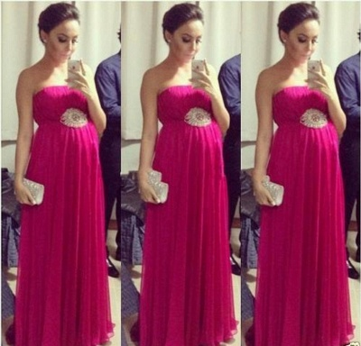 Empire Chiffon Long Strapless Sleeveless Simple Pregnant Bridesmaid Dress_1