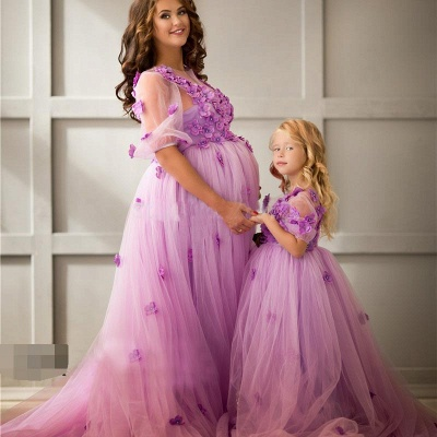 Ball-Gowwn Sweep-Train Half-Sleeves Tulle Appiluqes Flowers Maternity Bridesmaid Dress_2