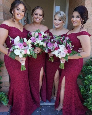 Cute Off-the-Shoulder Bridesmaid Dress | Sexy Trumpt Lace Maid of Honor Dress_3