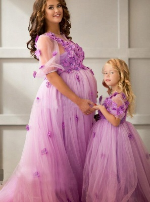 Ball-Gowwn Sweep-Train Half-Sleeves Tulle Appiluqes Flowers Maternity Bridesmaid Dress