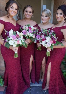 Cute Off-the-Shoulder Bridesmaid Dress | Sexy Trumpt Lace Maid of Honor Dress_1