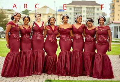 Burgundy Sexy Trumpt Long Bridesmaid Dresses UK | Cheap Appliques Beaded Maid of Honor_3