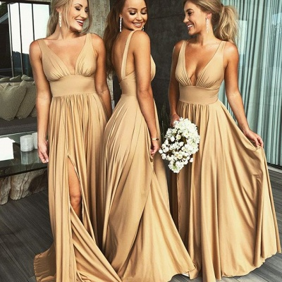 Elegant V-Neck Sleeveless Bridesmaid Dress | Bridesmaid Dress With Slit_3
