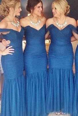 Blue Ruched Sexy Trumpt Bridesmaid Dresses UK Off the shoulder Maid of Honor Dresses_3