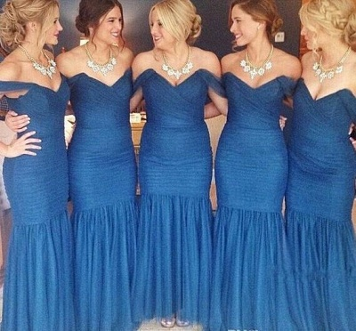 Blue Ruched Sexy Trumpt Bridesmaid Dresses UK Off the shoulder Maid of Honor Dresses_2