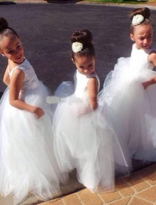 Cute Tulle Princess Jewel UK Flower Girl Dress |Long Girls Pageant Dress_1