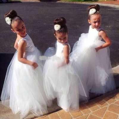 Cute Tulle Princess Jewel UK Flower Girl Dress |Long Girls Pageant Dress_2
