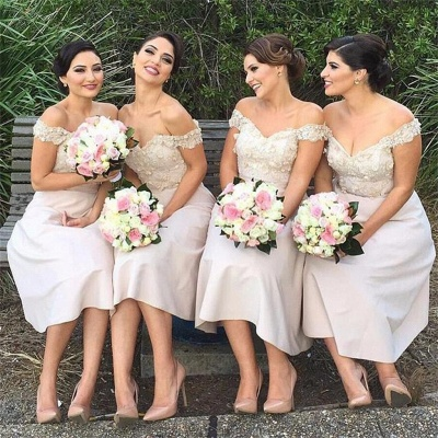 Off-the-Shoulder Short Lace Bridesmaids Dress | Glamorous Maid of Hornor Dresses Online_3
