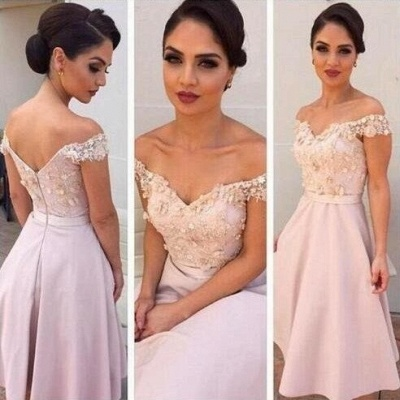 Off-the-Shoulder Short Lace Bridesmaids Dress | Glamorous Maid of Hornor Dresses Online_2